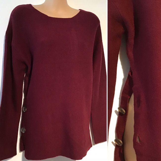 SOFT KNIT BURGUNDY SIDE BUTTON JUMPER NEW SIZES UK 10-14